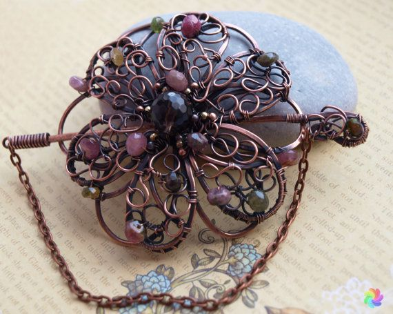 Tourmaline brooch Copper Pin Gemstone brooch Scarf pin by 7Stone