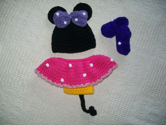 Crochet baby clothing - Baby minnie mouse costume - Babygirls Clothing Sets -Baby shower gifts - Girls crochet skirts - crochet