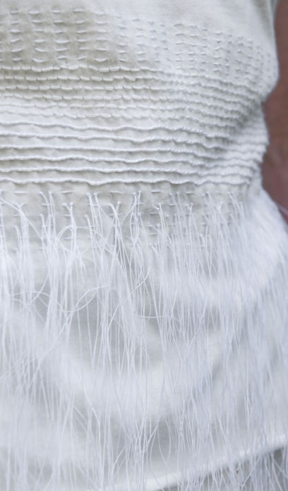 White on white embroidery with mixed stitches & fringe; sewing ideas // Alabama Chanin #textiles