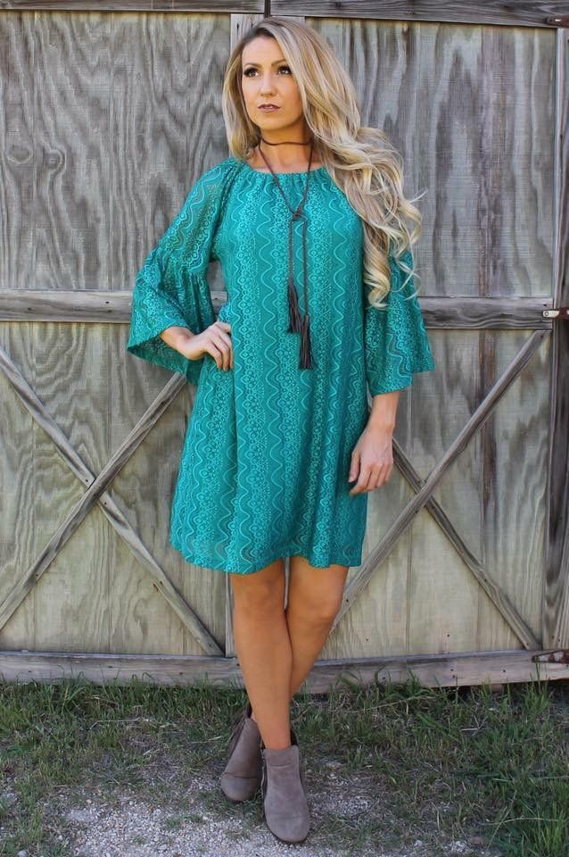 Turquoise Lace Dress with Bell Sleeves