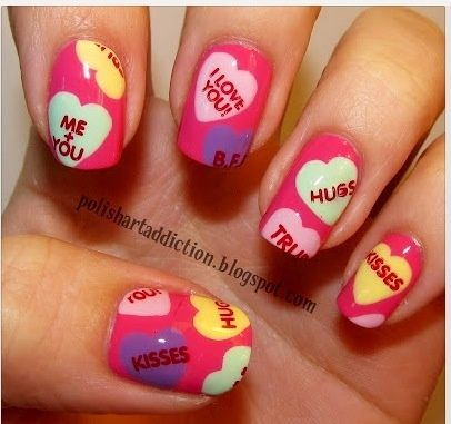 valentines day nails. Cast A Love Spell On Your Nails With 22 Cute Nail Art Ideas | See more at http://www.nailsss.com/colorful-nail-designs/2/