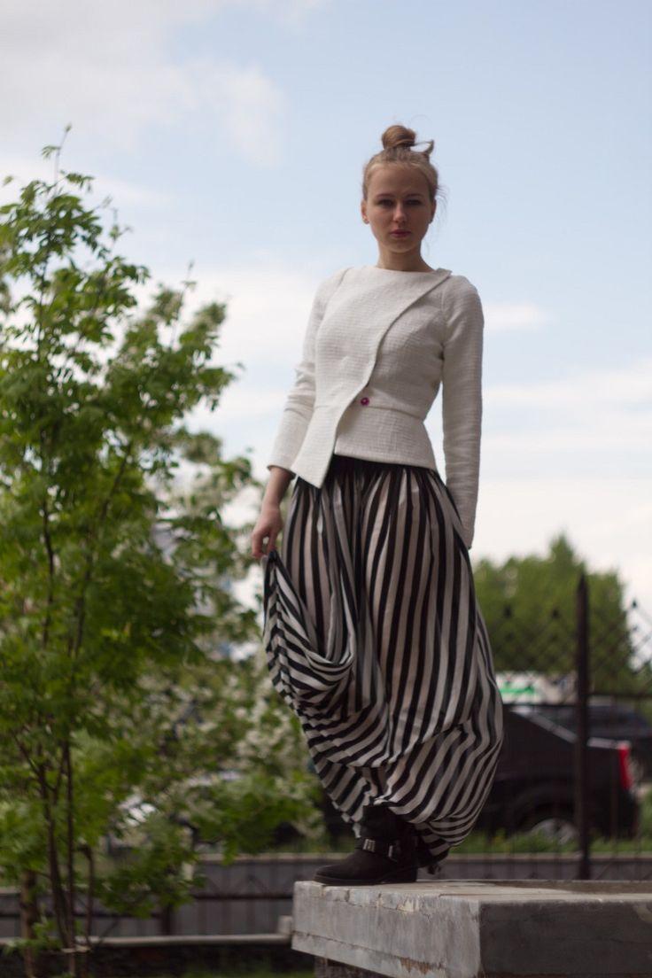 Жакет из льна, шёлковая юбка