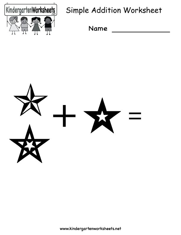 Addition Worksheets | Simple Addition Worksheet - Free Kindergarten Math Worksheet for Kids