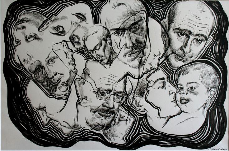 Olga Vinnitskaya. Komposition mit Köpfen, schwarze Tusche und Feder auf Papier.