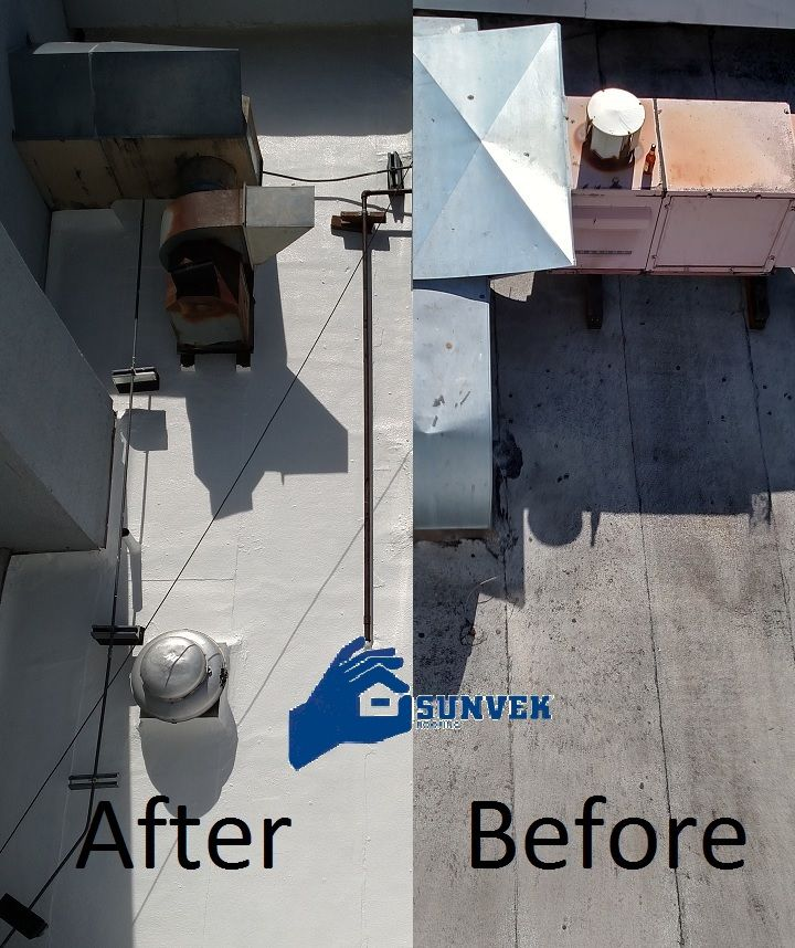 Before And After Roof Coating Applied Prolong The Life Of Your Existing Roof With Elastomeric Roof Coatin Roof Coatings Elastomeric Roof Coating Roof Coating