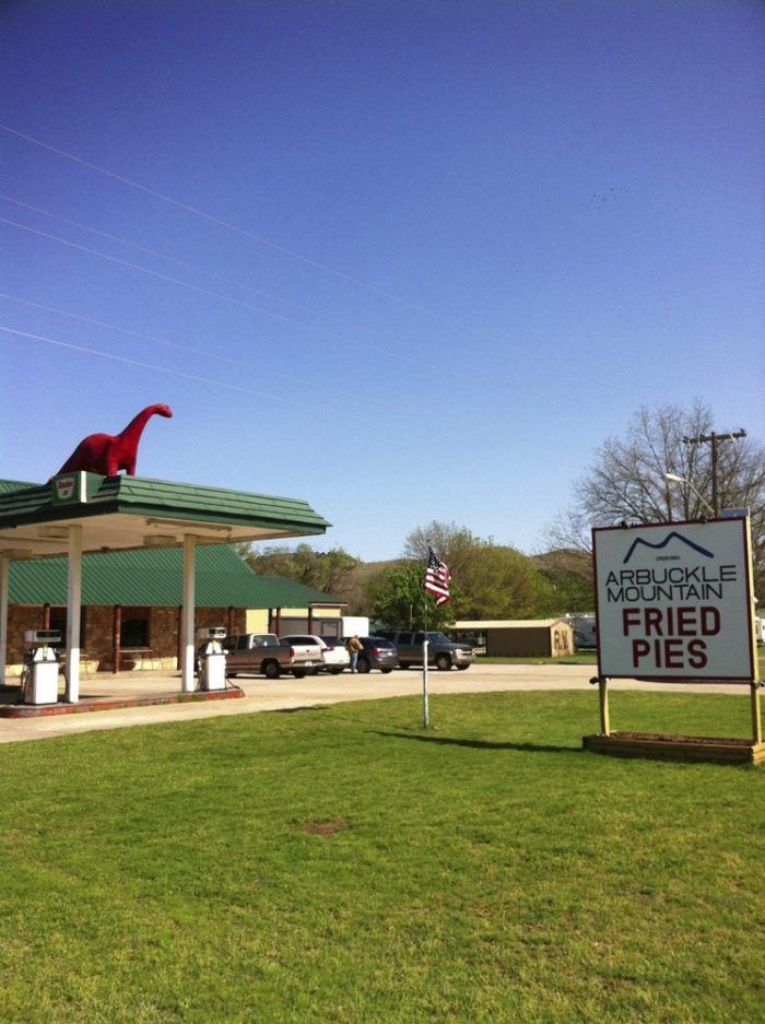Look for the dinosaur outside of Arbuckle Mountain Fried Pies just off exit 51 on Interstate 35  in Davis, Oklahoma.
