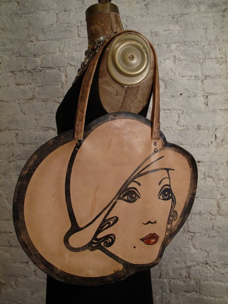 60s Mod Lady's Face Leather Bag - Rare and Collectible Novelty Purse. $455.00, via Etsy.