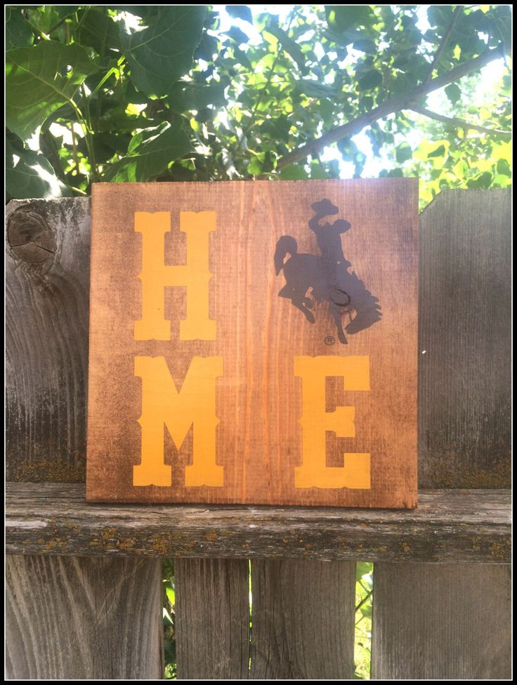 Licensed University of Wyoming Home sign. UW Home, Wood Sign, Home Decor, Steam Boat, Dorm room, Go Pokes, Wyoming Cowboys, College Football by CraftingWithMama on Etsy https://www.etsy.com/listing/223825548/licensed-university-of-wyoming-home-sign