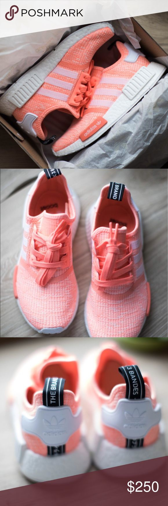 Adidas NMD Shoes Brand new, never worn authentic women's originals Adidas NMD_R1 Shoes in Sun Glow/Running White. Size 5.5. No trades. Comes in original box. Price negotiable, make me your best offer! *SAVE MONEY BY PURCHASING ON DE💥!* Comment below if interested! ☺️* Adidas Shoes Sneakers