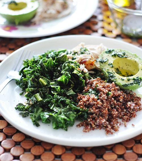 Kale, Quinoa, Avocado & Roast Chicken Salad