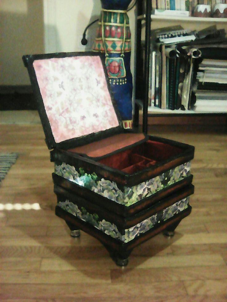 Handmade makeup case, top open