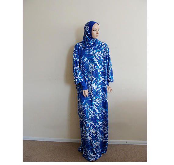 Blue Maxi Dress Plus Size,Prayer dress, Farasha Caftan,Muslim dress, abaya Dress, Modern hijab, Burqa, Summer dress, Dress and scarf