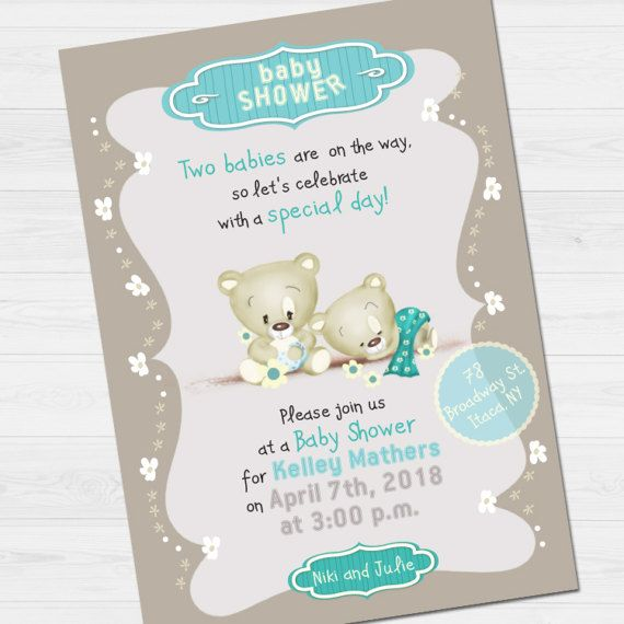 Twins Shower Party Invitation with name &  thank by babyartshop
