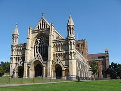 New Albans, Hertfordshire, UK - a town of ancient origins, with Roman ruins, the Abbey pictured and lots of other historical sites. Now a bit of an upscale town with lots of shopping and restaurants. A great place to spend the day; its about halfway between London and Luton.