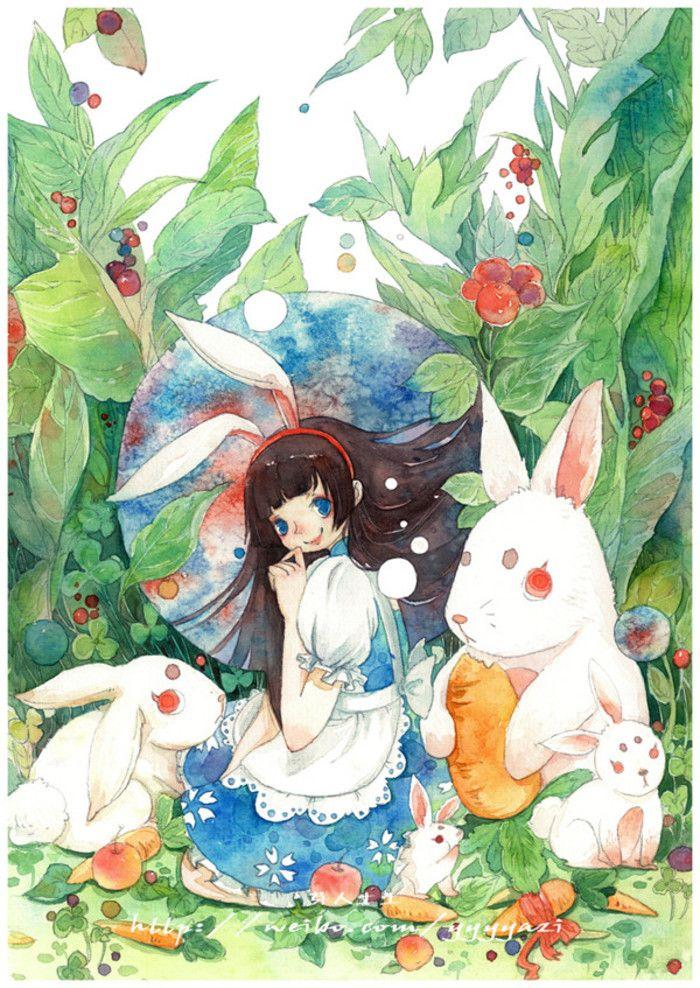 野餐!QVQ-芽人土土_原创,插画,水彩,少女,小清新,植物_涂鸦王国