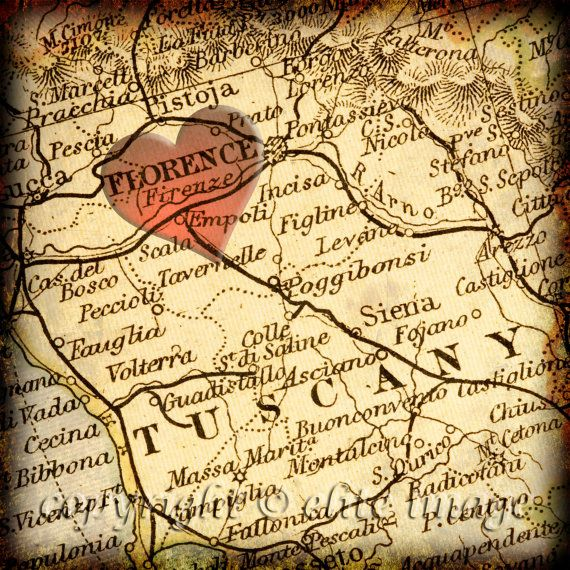 MAP of #FLORENCE #Italy with a Heart Shape/Grunge Vintage Border - 8x8 Photograph #ridecolorfully