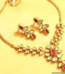 Buy Ruby Kundan Meenakari Elegant Necklace Set necklace-set online