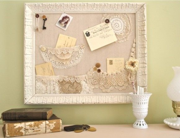 Make a Shabby Bulletin Board with Lace Pockets