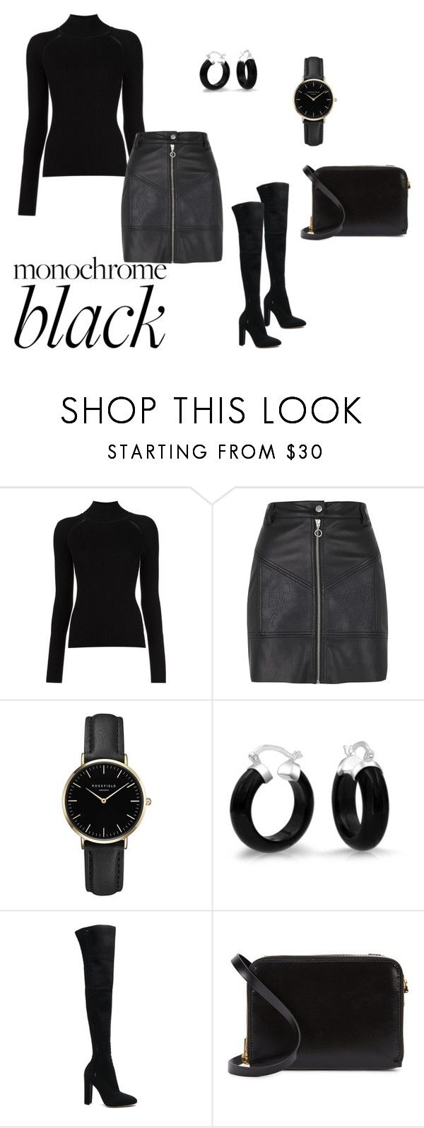 """Monochrome Black"" by lyra010 ❤ liked on Polyvore featuring Misha Nonoo, River Island, ROSEFIELD, Bling Jewelry, Gianvito Rossi and Sophie Hulme"