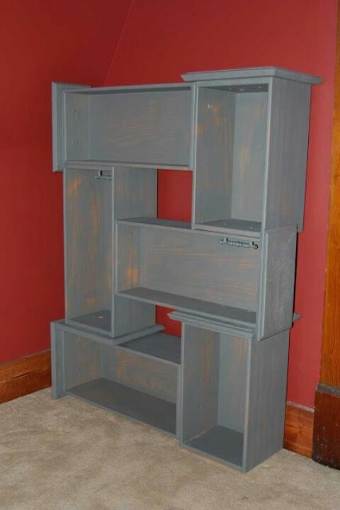 Drawers from old dresser to make into bookcase
