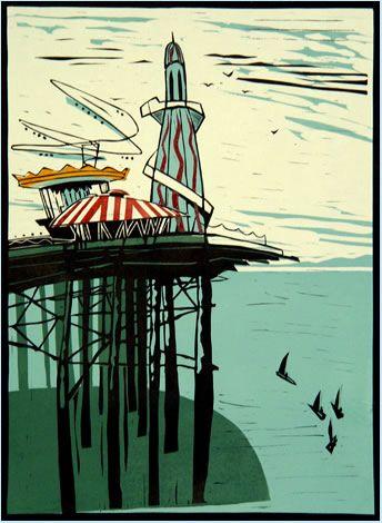 Colin Moore Brighton Pier lino cut