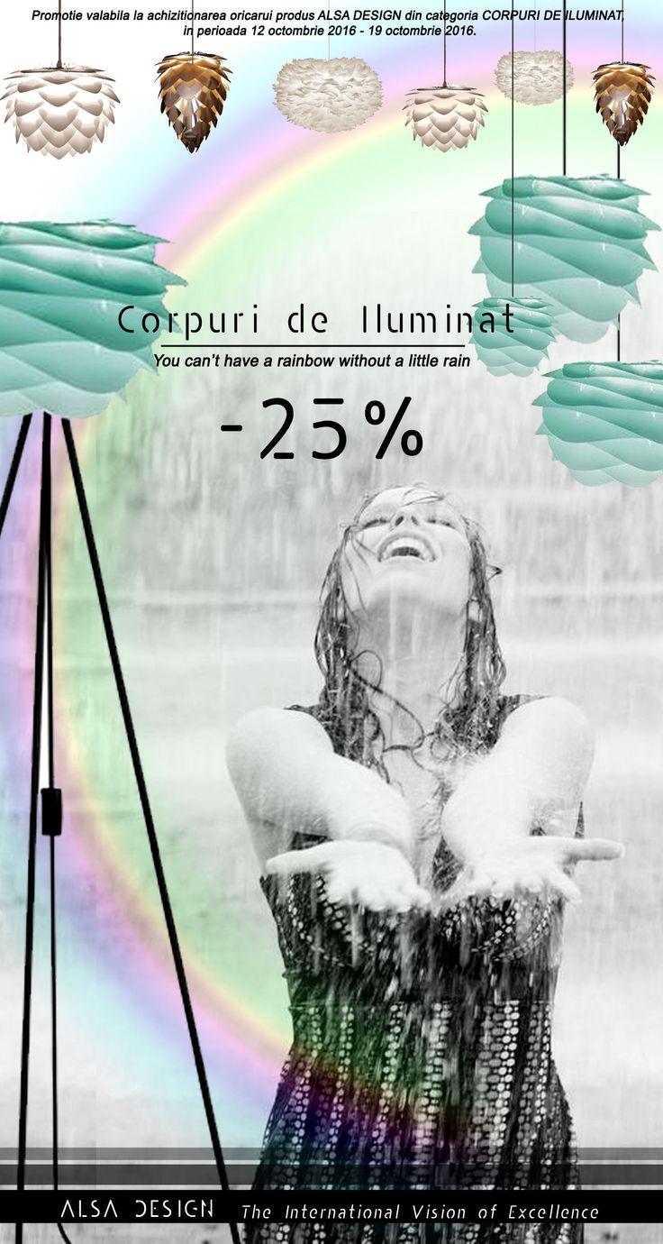 You can't have a rainbow without a little rain! Pe aceasta vreme ploioasa, echipa ALSA DESIGN aduce soarele in casa dumneavoastra prin PROMOTIA actuala la CORPURILE DE ILUMINAT! http://www.alsadesign.ro/ SHOP ONLINE: http://shop.alsadesign.ro/corpuri-de-iluminat_37 CADOURI DE LUX: http://tza-tza.ro/decoratiuni-l…/corpuri-de-iluminat_9/toate