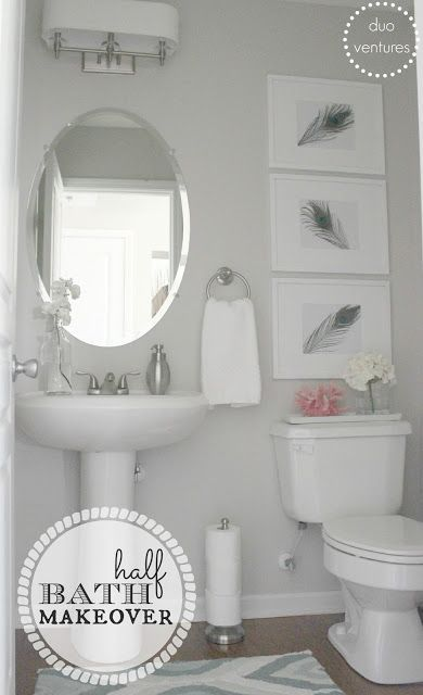 Half Bath Makeover – love the DIY art, the paper towel holder for extra toilet paper and the paint color