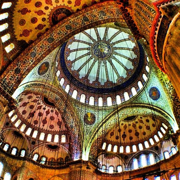 The roof of the Blue Mosque in Istanbul, Turkey