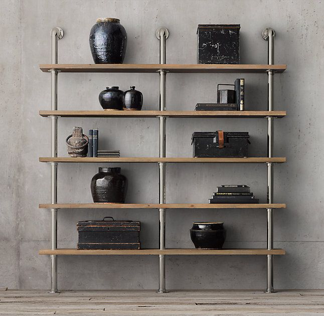 RH's Maritime Shelf System - Polished Nickel:Inspired by the contoured pipes that hug ships' bulkheads across the seas, we translated their maritime appeal into eminently functional shelving. We've preserved their curves in porthole-style wall-mounts, then added substantial oak shelves with the weathered look of age.