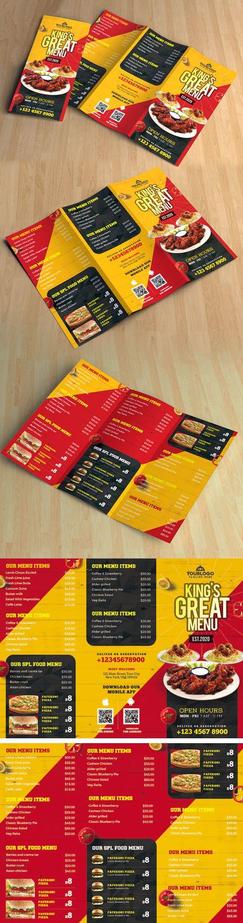 Restaurant Tri-Fold Brochure Menu PSD Template