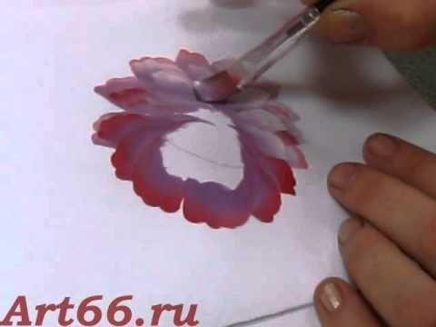 Тагильская роспись. Рисуем внешнюю часть цветка. - YouTube