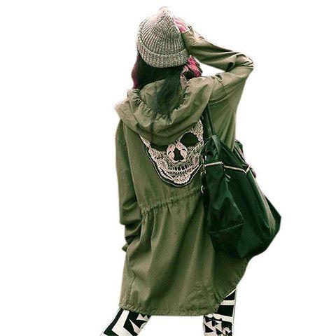 Skull Goth Green Army Jacket