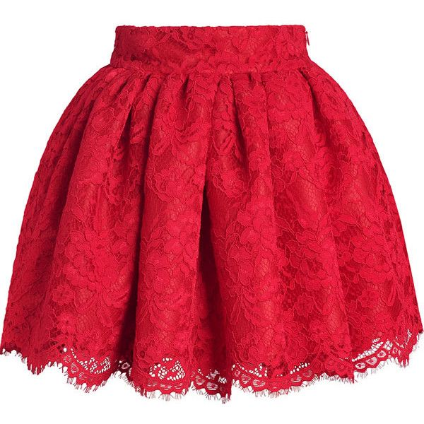 Red Floral Stylish Lace Bubble Skirt ($28) ❤ liked on Polyvore featuring skirts, saias, red, lacy skirt, red skirt, flower print skirt, short red skirt and lace skirt