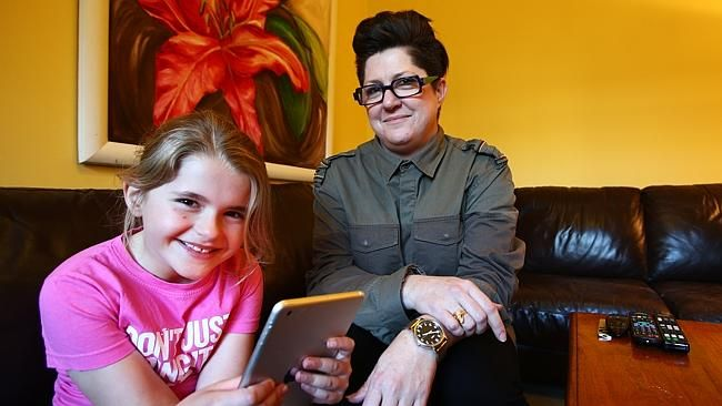 'I'm on her case a fair bit': Stephanie Cassidy and daughter Elizabeth, 8. Picture: Aaron