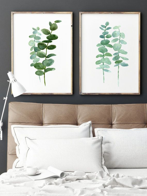 Eucalyptus Painting set of 2 Botanical Art Prints. Green Leaves Wall Decor Birthday Gift for Her. Living Room, Kitchen, Dining Room Botanical Poster. Minimalist Modern Illustration. A price is for the set of two Eucalyptus Art Prints as in the Picture.  Type of paper: Prints up to (42x29,7cm) 11x16 inch size are printed on Archival Acid Free 270g/m2 White Watercolor Fine Art Paper and retains the look of original painting. Larger prints are printed on 200g/m2 White Semi-Glossy Poste...