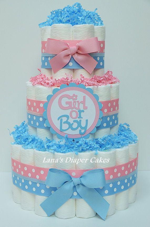 Pink & Blue Boy Or Girl Diaper Cake Baby Shower Centerpiece