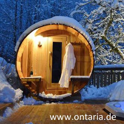 Barrel Sauna H180xL210cm with Porch for 6 People No wood can compare with Canadian Western Red Cedar: Original Barrel Sauna plus 60cm porch with benches for 6 people with rustic Canadian wood-burning heater. Assemble it, fire it up and start to relax!