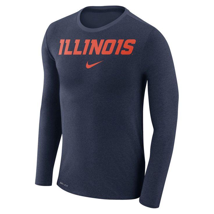 Men's Nike Illinois Fighting Illini Marled Long-Sleeve Dri-FIT Tee, Size: Medium, Blue (Navy)