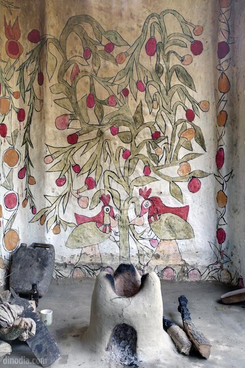 Painting on the Wall Madhubani Bihar India Asia
