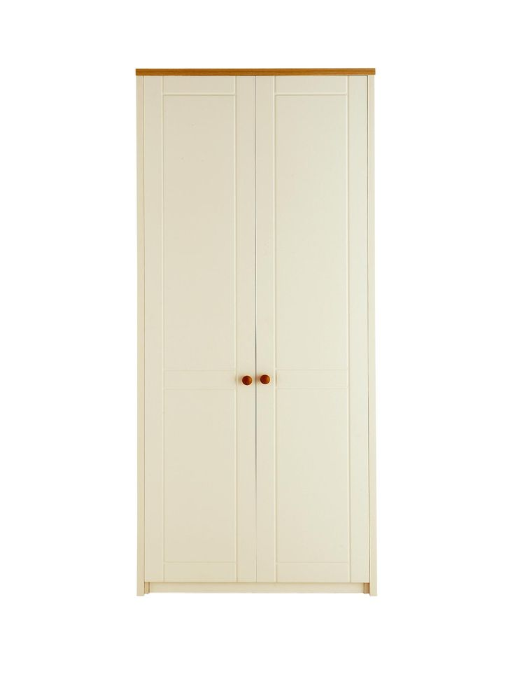 Alderley Ready Assembled 2-door Wardrobe in Cream/Oak-Effect or White This…