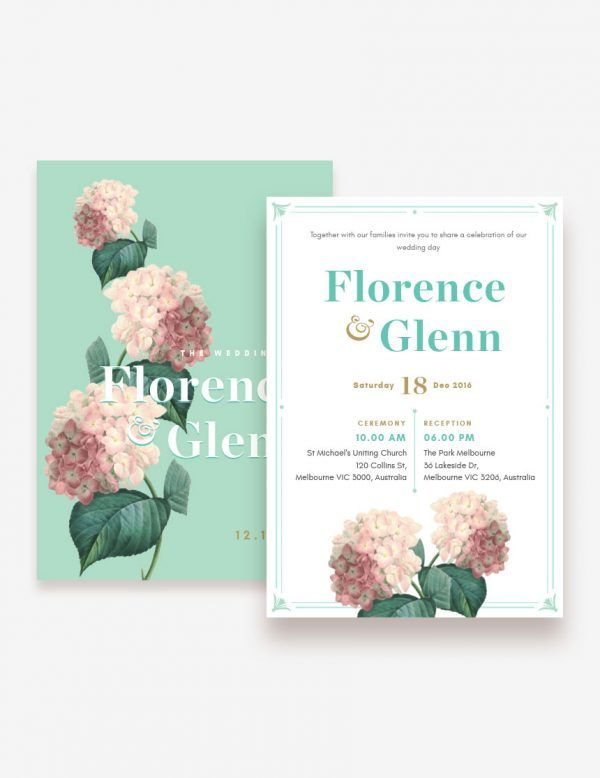 Classic botanical wedding invitation. Shop this printable design at www.inatondesign.com
