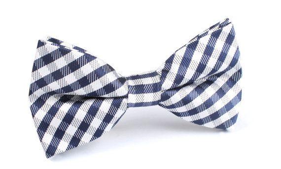 Men's Bow Tie Pre-Tied Navy Blue Gingham X450-BT Australia door OTAA
