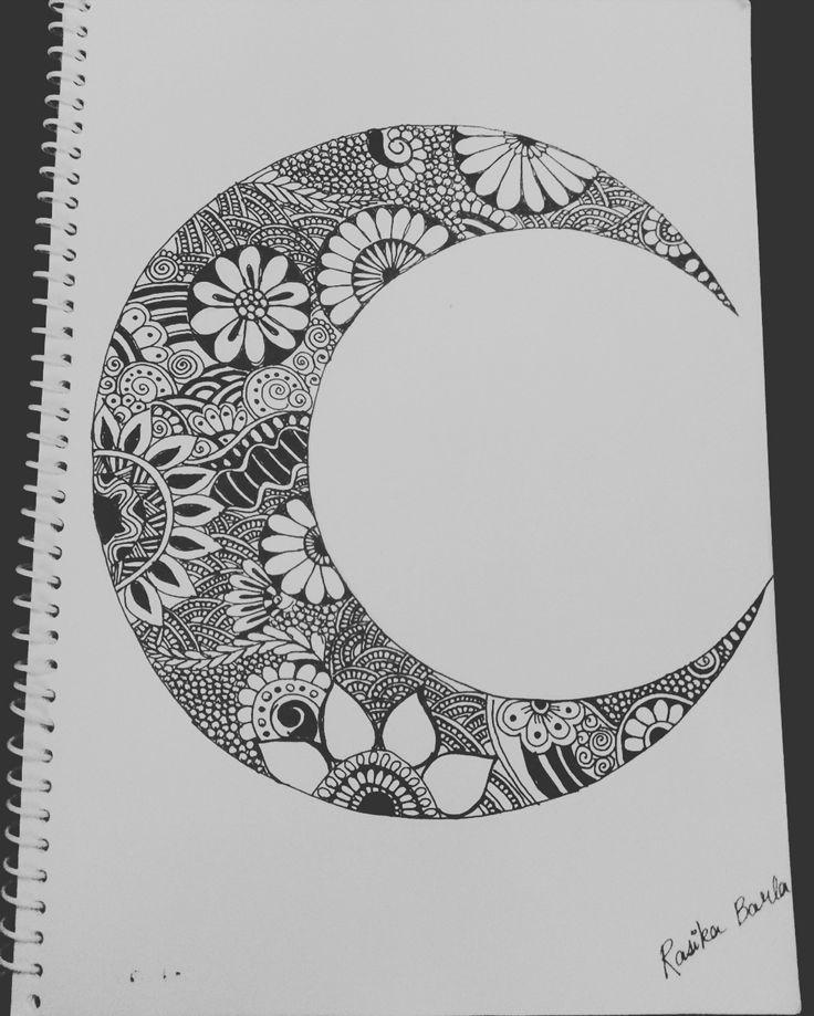 Eid mubarak (Page 2) #moon #doodle #mamdal #art #drawing #blackpen #blackpenwork❤