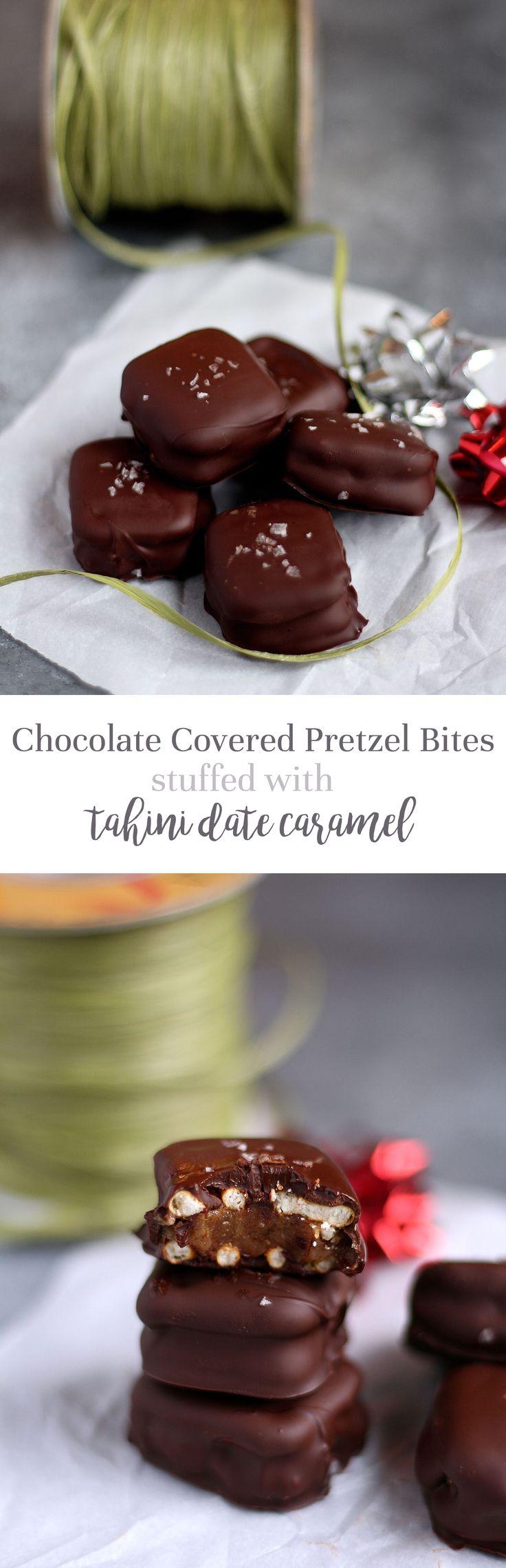 Dark chocolate covered pretzel bites stuffed with tahini date caramel (vegan)