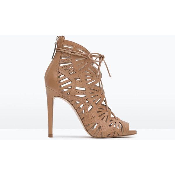 Zara Wraparound Leather Sandal (€125) via Polyvore featuring shoes, sandals, heels, leather, wrap shoes, wrap around sandals, heeled sandals, zara sandals and real leather shoes