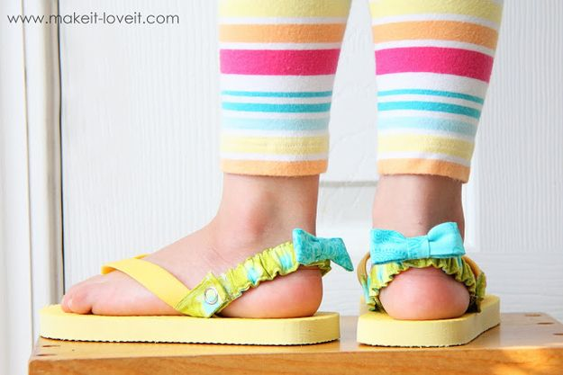 Attach interchangeable straps to the back of your child's flip flops. | 31 Easy DIY Projects You Won't Believe Are No-Sew