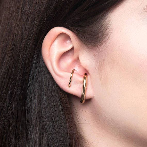 Minimal Modern Ear Cuff  No Piercing Required  Simple Everyday Earrings  14k Yellow Gold Filled Sterling Silver Rose Gold Filled
