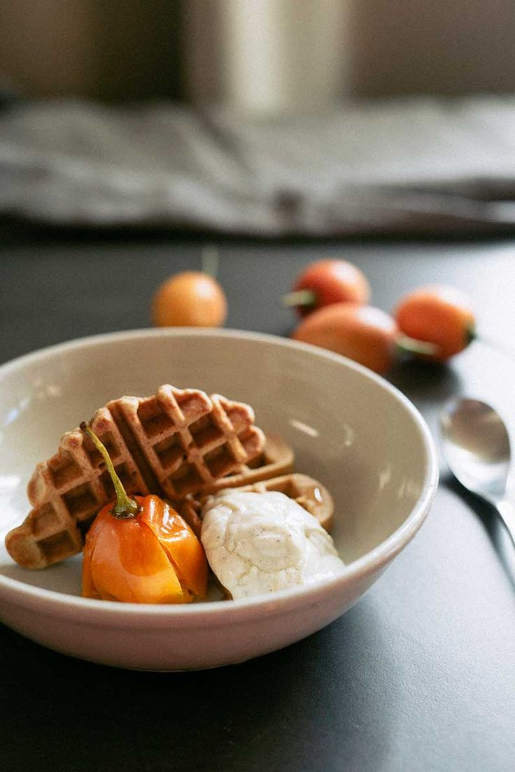 Spelt waffles, poached tamarillos and vanilla labne | Real Food School