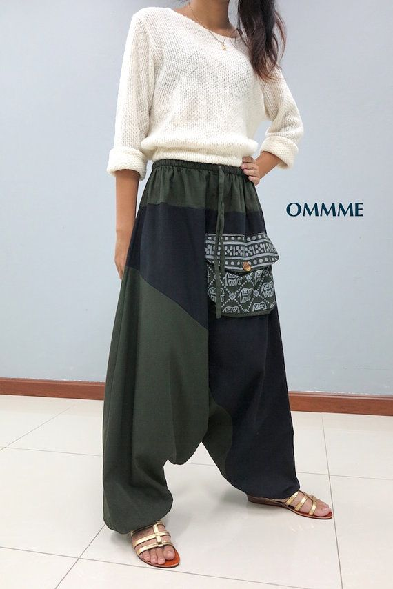 OMMME harem pants  019 green and black by Ommme on Etsy
