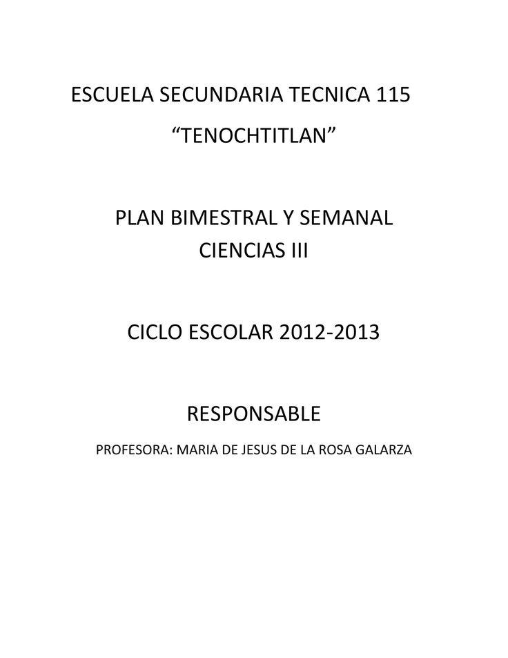 "ESCUELA SECUNDARIA TECNICA 115 ""TENOCHTITLAN"" PLAN"